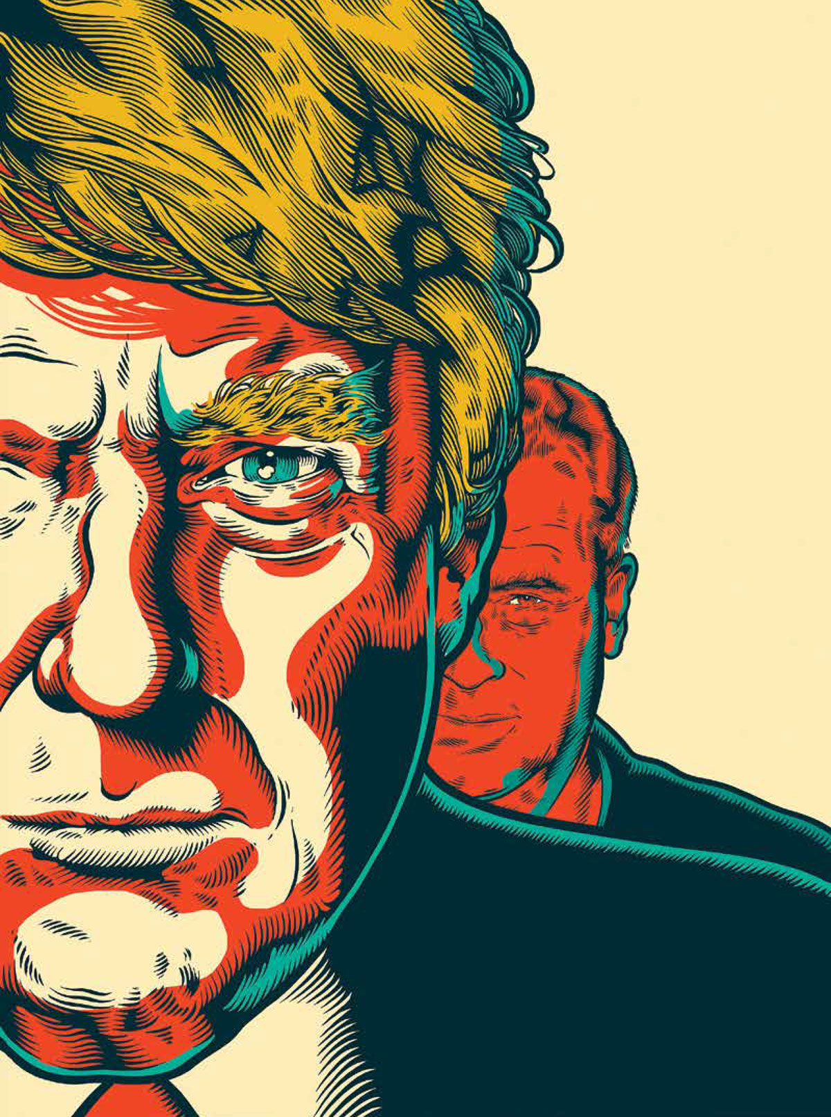 Donald Trump and Robert Mercer. (Illustration by Tim McDonagh)