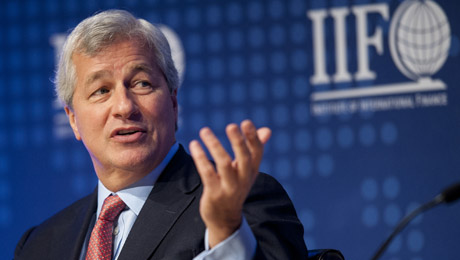 Jamie Dimon Gets Rock Star Treatment, and a Rebuke, from Bankers