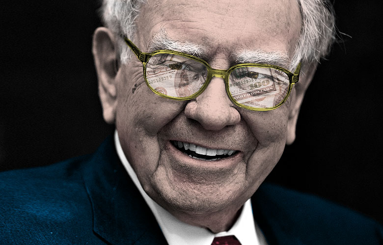 Warren Buffett, chairman and chief executive officer of Berkshire Hathaway Inc. (Photo Illustration by Alex Agius for Institutional Investor, photo credit: Daniel Acker/Bloomberg).