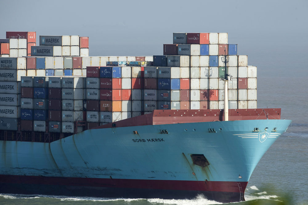 A container ship outside the Yangshan Deep Water Port in Shanghai. (Qilai Shen/Bloomberg)
