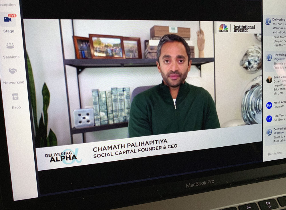 Chamath Palihapitiya at the Delivering Alpha virtual conference. (II photo)