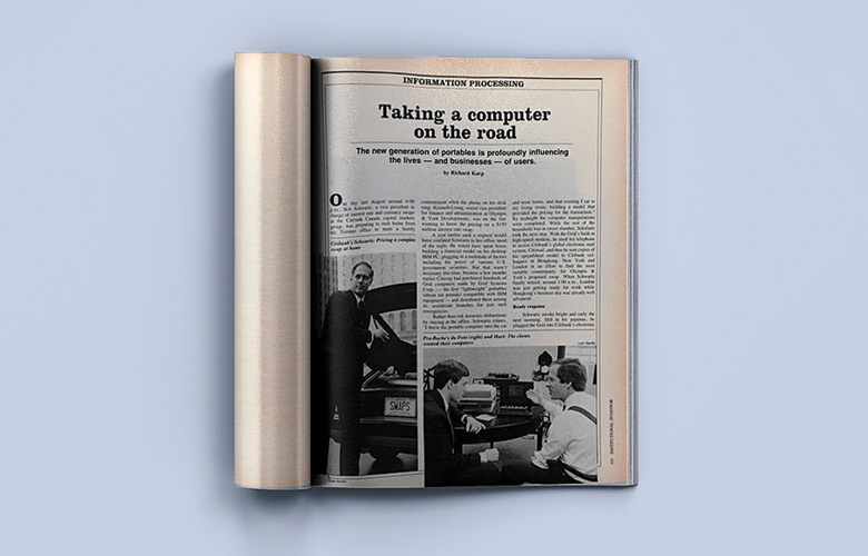 """""""Taking a Computer on The Road,"""" February 1985 issue of Institutional Investor"""