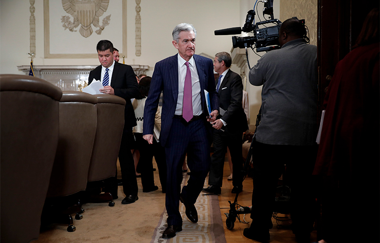 Jerome Powell, chairman of the U.S. Federal Reserve, exits following a meeting with the Board of Governors for the Federal Reserve on May 30, 2018 (Aaron P. Bernstein/Bloomberg)