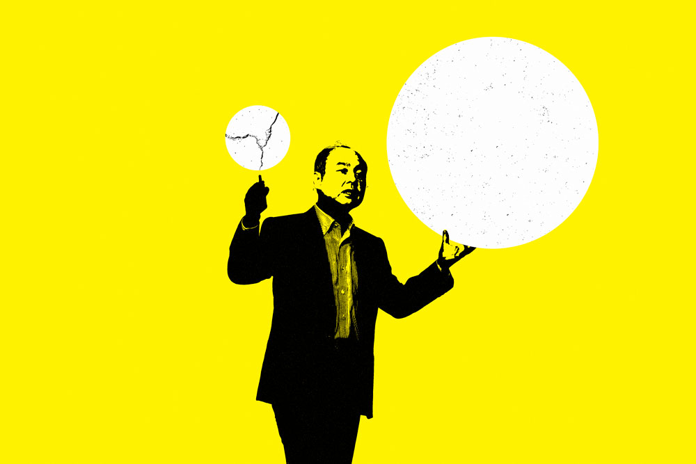 Masayoshi Son. (Illustration by II. Photo: Kiyoshi Ota/Bloomberg)