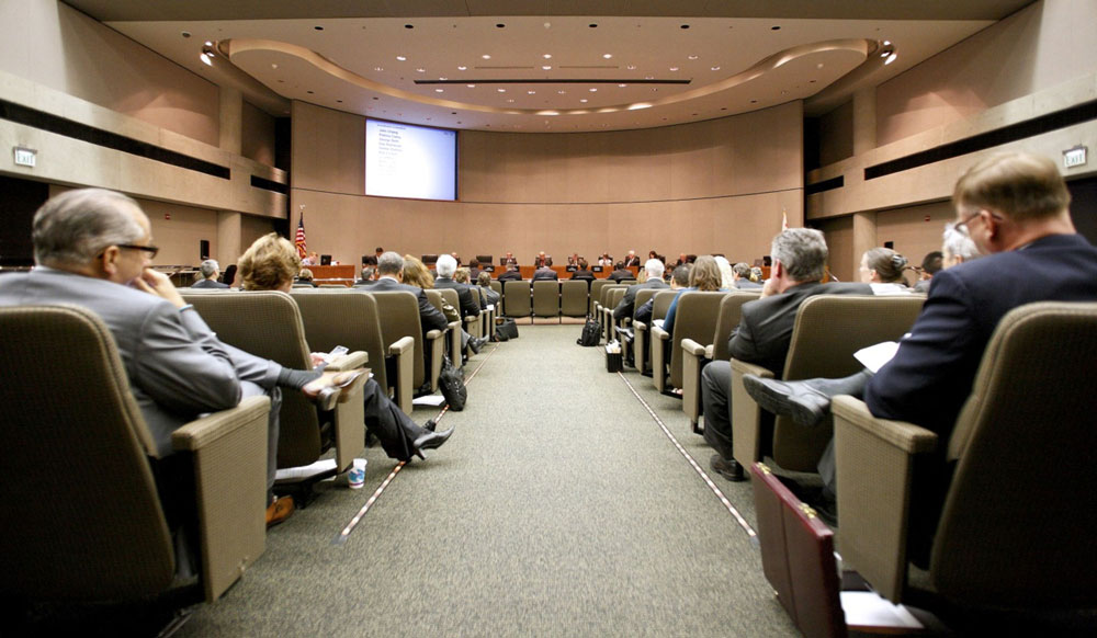 A board meeting at CalPERS offices in Sacramento. (Ken James/Bloomberg)