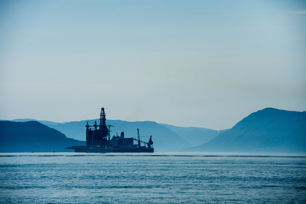 An oil drilling platform in the Bomla fjord near Leirvik, Norway. (Carina Johansen/Bloomberg)
