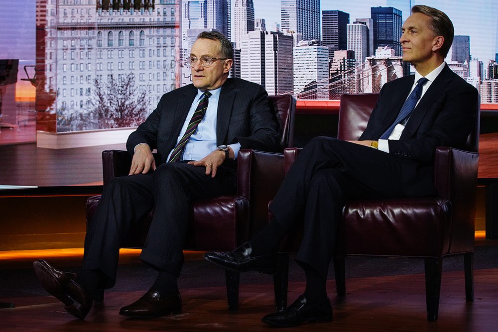 Howard Marks, co-founder of Oaktree Capital and Bruce Flatt, CEO of Brookfield Assest Management. (Christopher Goodney/Bloomberg)