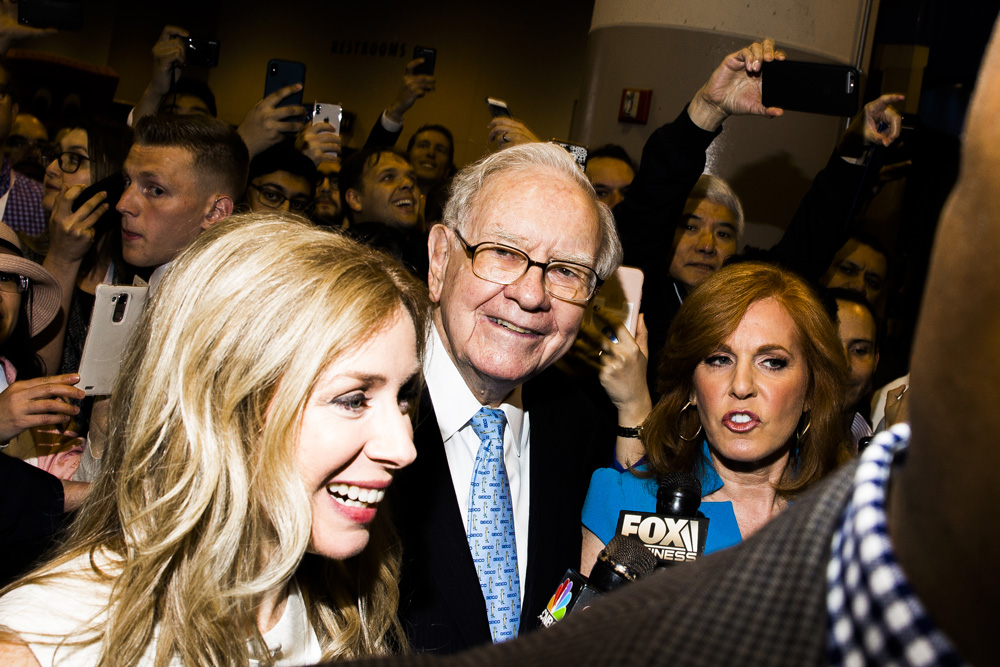 Warren Buffett at the Berkshire Hathaway annual meeting in 2018. (David Williams/Bloomberg)