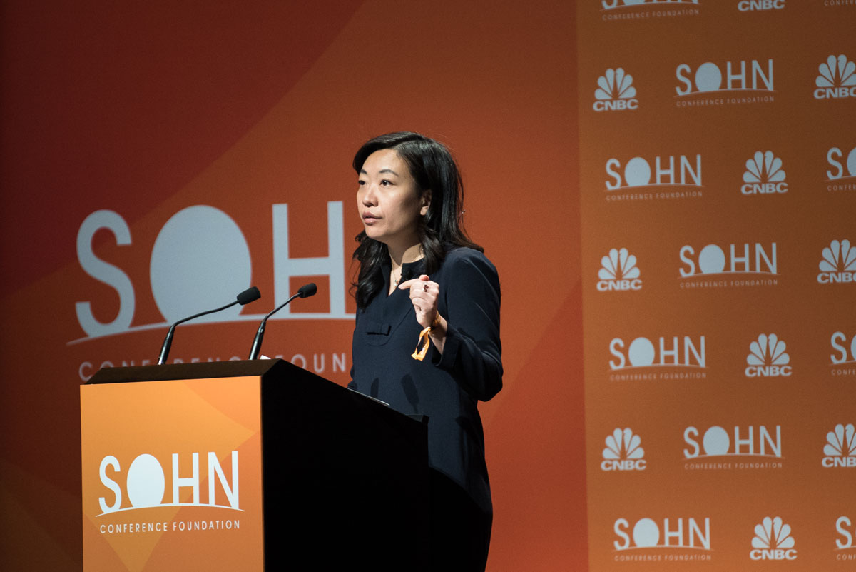 Li Ran, chief investment officer of Half Sky Capital, speaks at the 2018 Sohn Investment Conference. (Kholood Eid/Bloomberg)