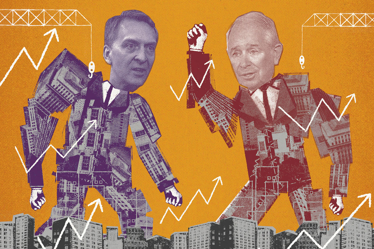 Bruce Flatt and Stephen Schwarzman. (Illustrations by Ben Jones; photos via Bloomberg)