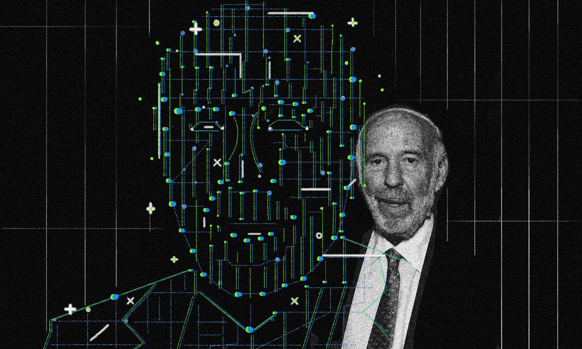 Illustration by II/Photo of Jim Simons (Amanda Gordon/Bloomberg)